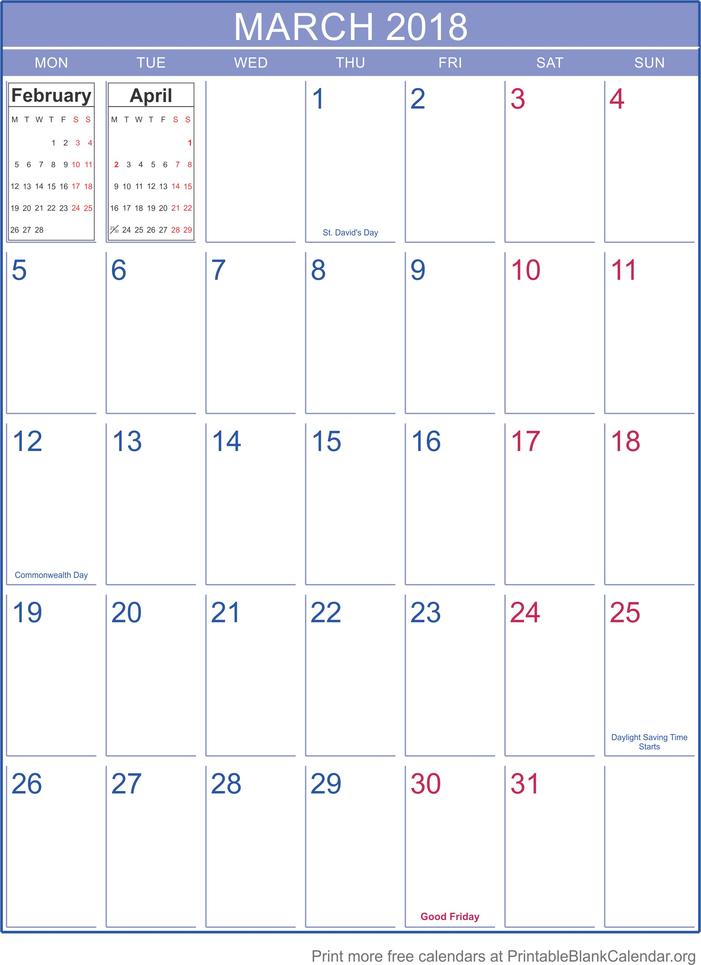 2018 printable calendar monthly