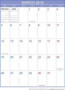 printable calendar March 2018