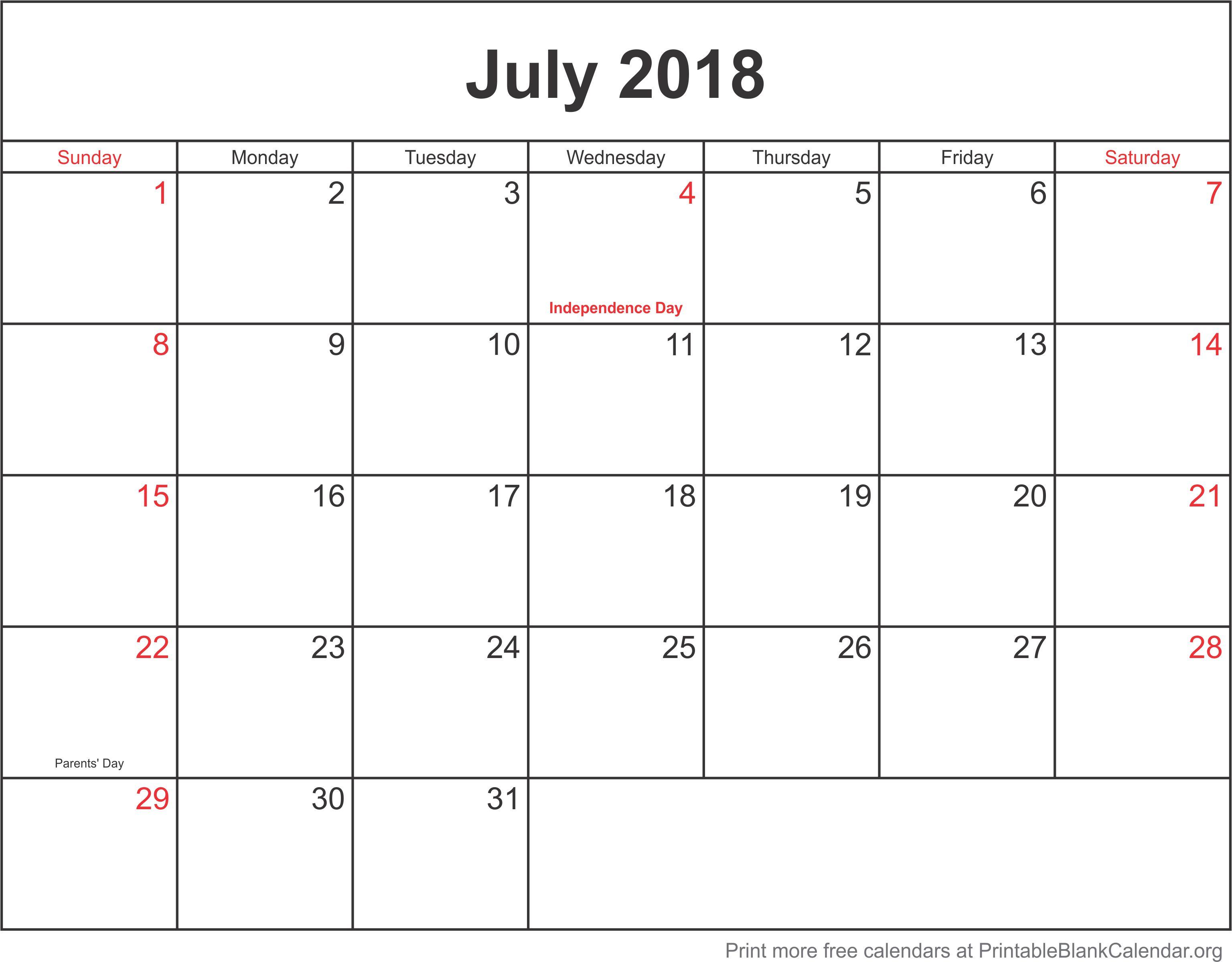 july 2018 printable calendar template