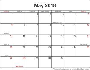 May 2018 printable calendar template