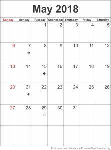 calendar template May 2018