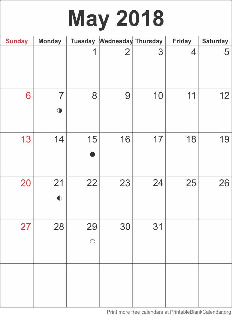 Calendar Template May 2018 Printable Blank Calendar