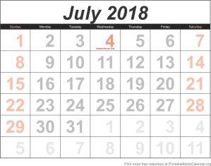 free calendar July 2018