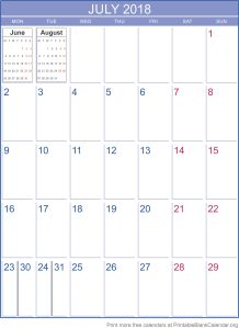 printable calendar July 2018