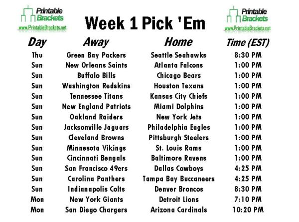 NFL Pick Em Week 1 | Pro Football Pick Em Week 1