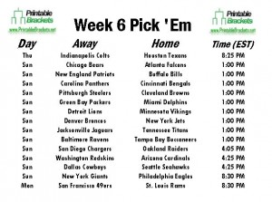 NFL Pick Em Week 6 | Pro Football Pick Em Week 6 ...