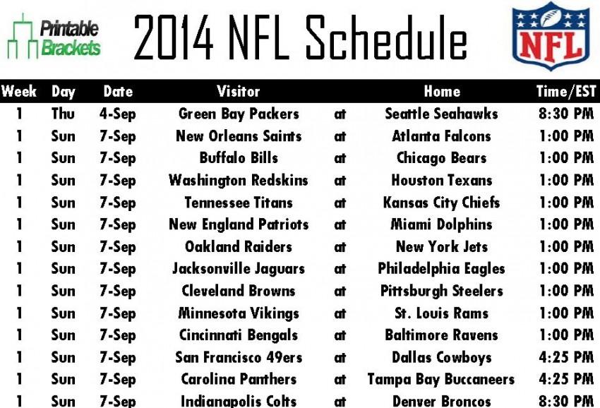 2014 Nfl Schedule Printable