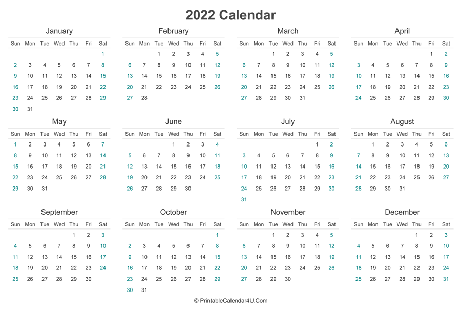 Two year calendars for 2022 &. 2022 Calendar Printable (Landscape Layout)