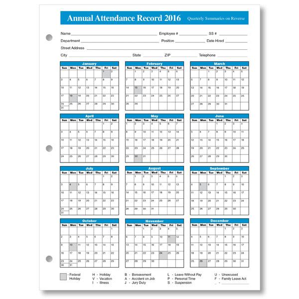 employee attendance calendar tracker templates 2016 printable