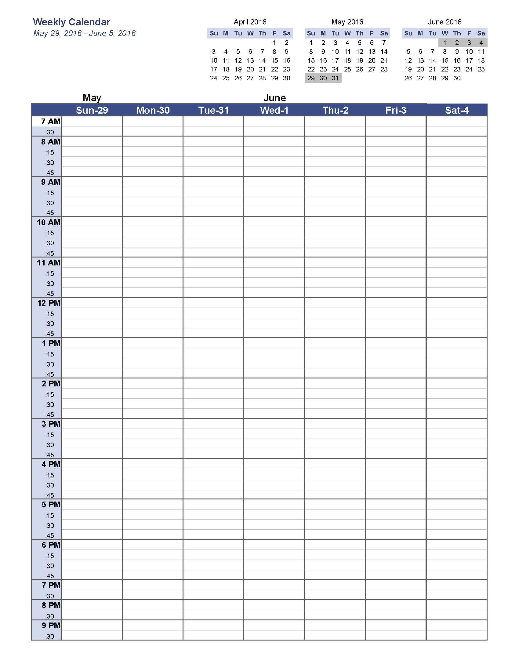 May Weekly Calendar Templates