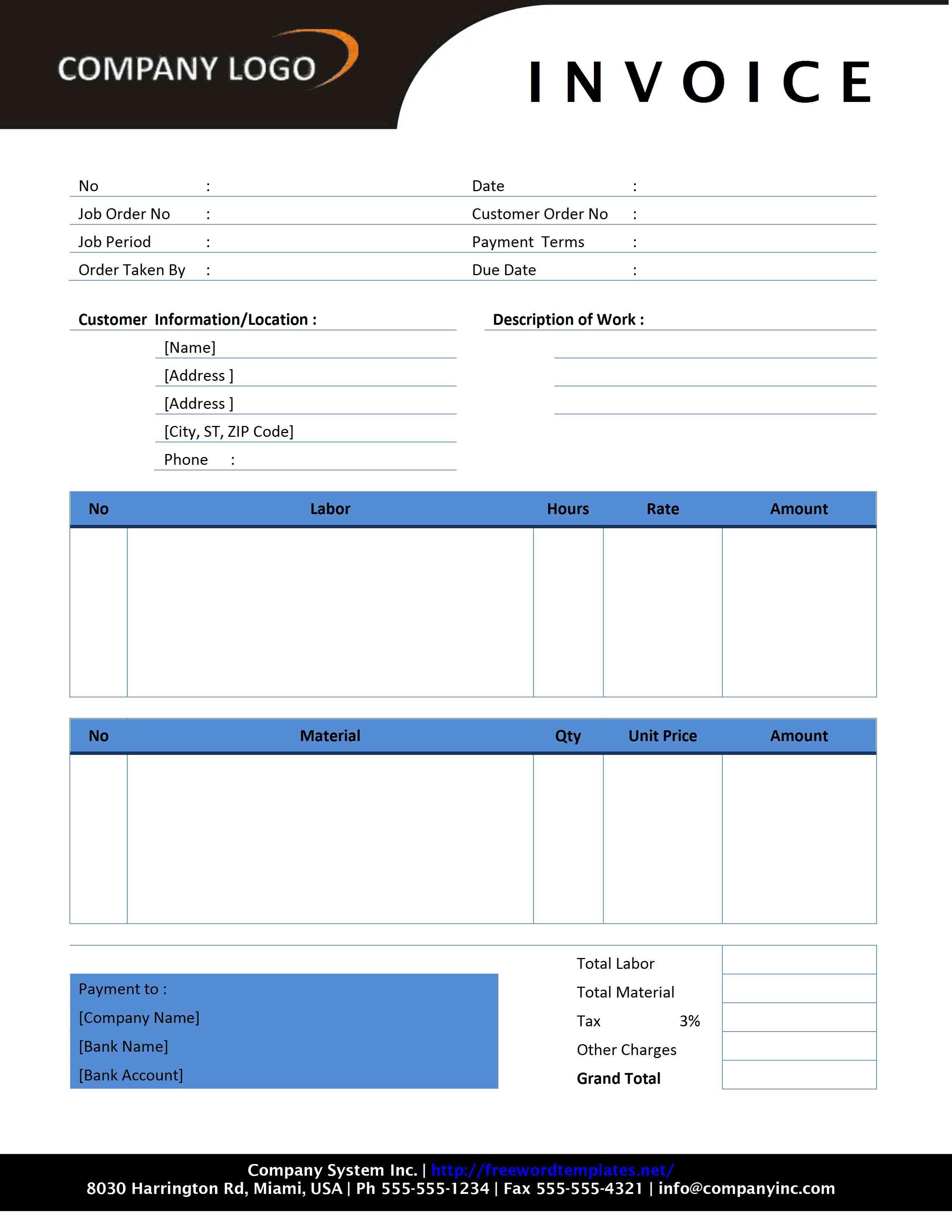 Free Invoice Template   Sample Invoice Format   Printable Calendar Templates
