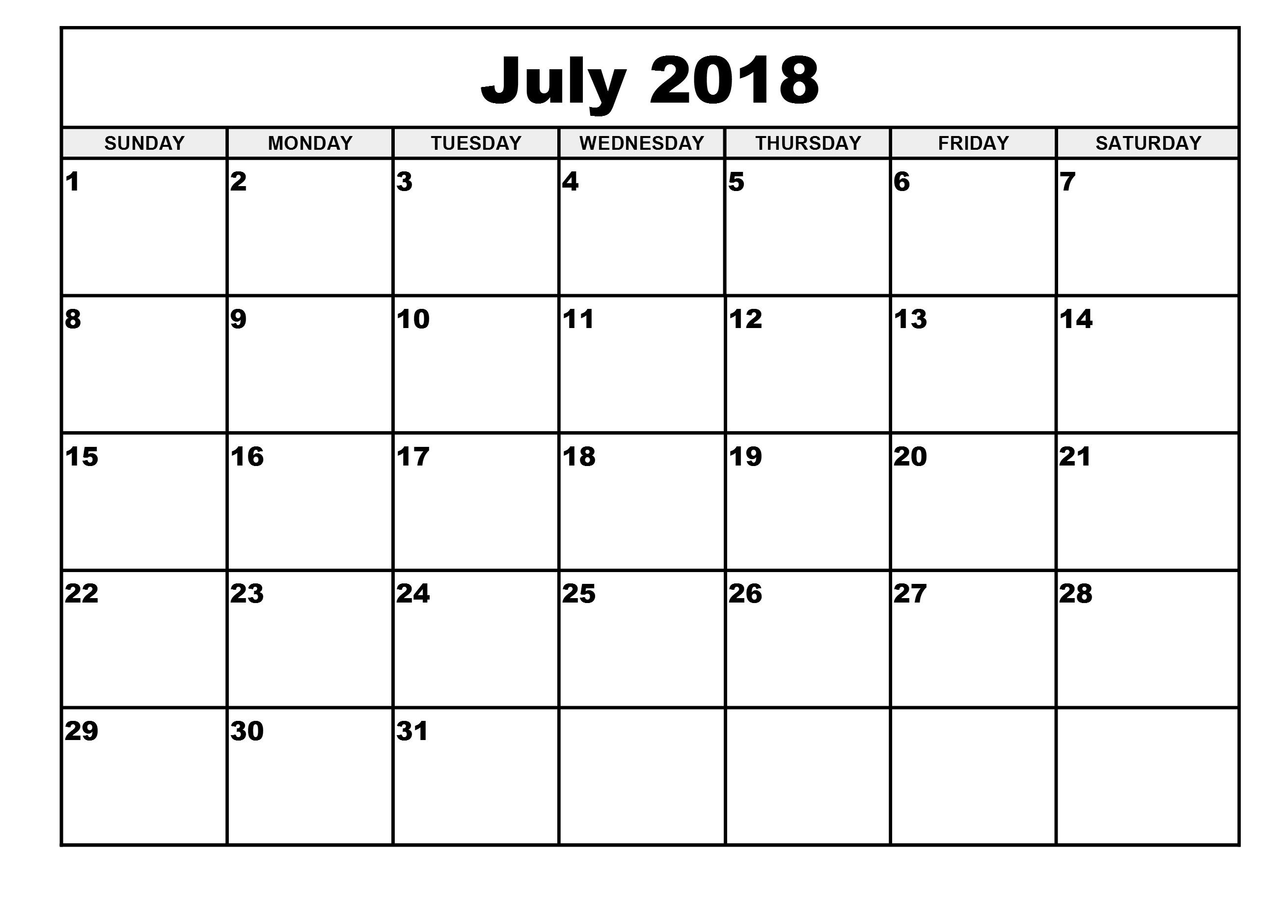 Free Printable Calendar 2018 Template Printable Calendar