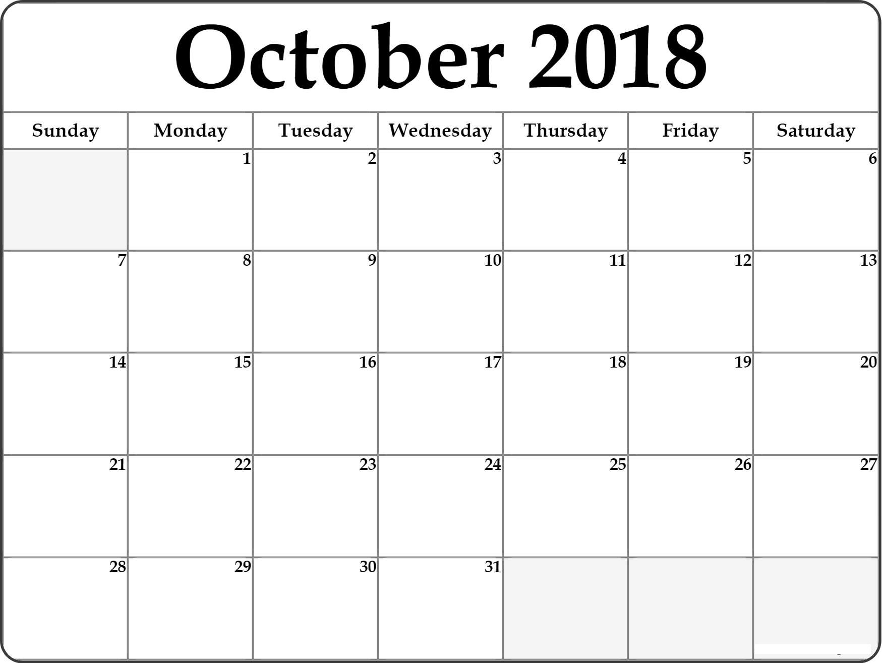 October 2018 Calendar Template Printable {Download ...