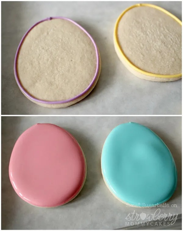 Fill and flood the Easter Egg cookies with royal icing.