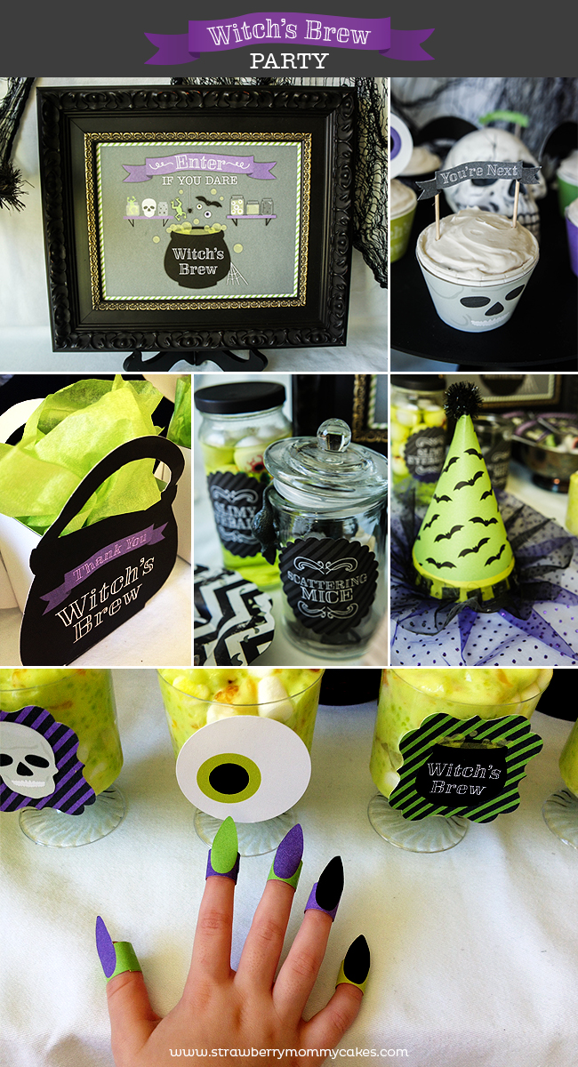 Witch's Brew Halloween Party on www.strawberrymommycakes.com #halloweenparty #witchsbrew #halloweenprintables #halloween
