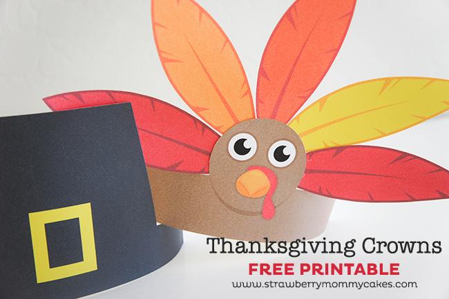 Thanksgiving Pilgrim, Indian and Turkey Crowns on www.strawberrymommycakes.com #thanksgivingprintable #freeprintable #thanksgivingkids