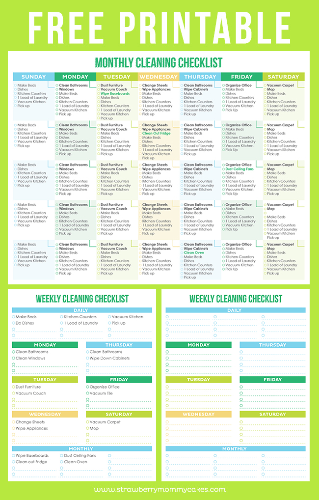 Cleaning Schedule pages against green background