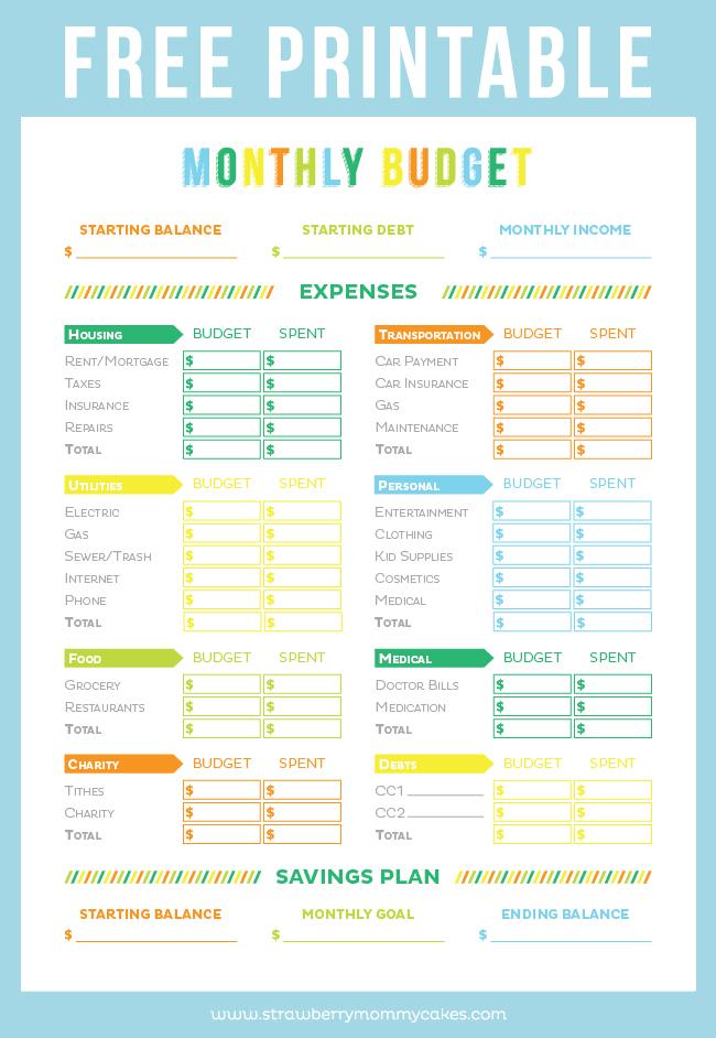weekly budget sheet printable