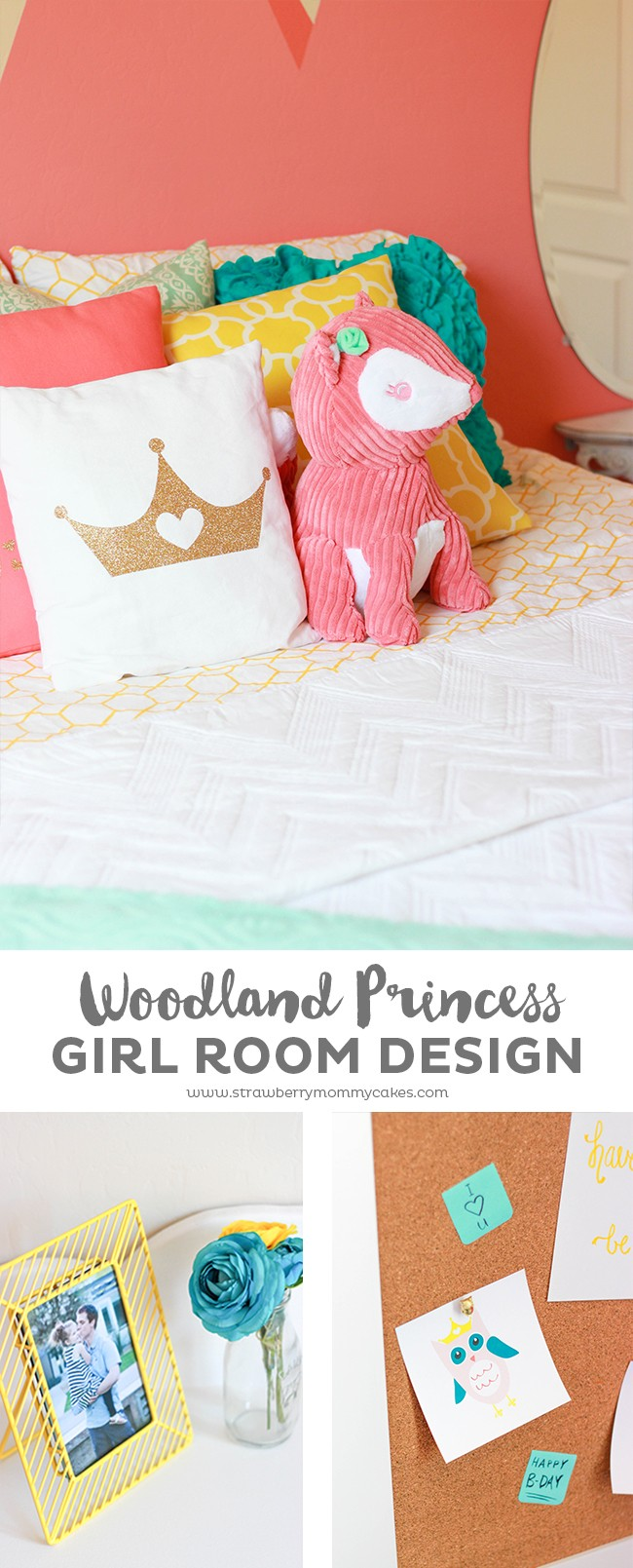 You'll love all the details of this Modern Woodland Princess Girl Room Design