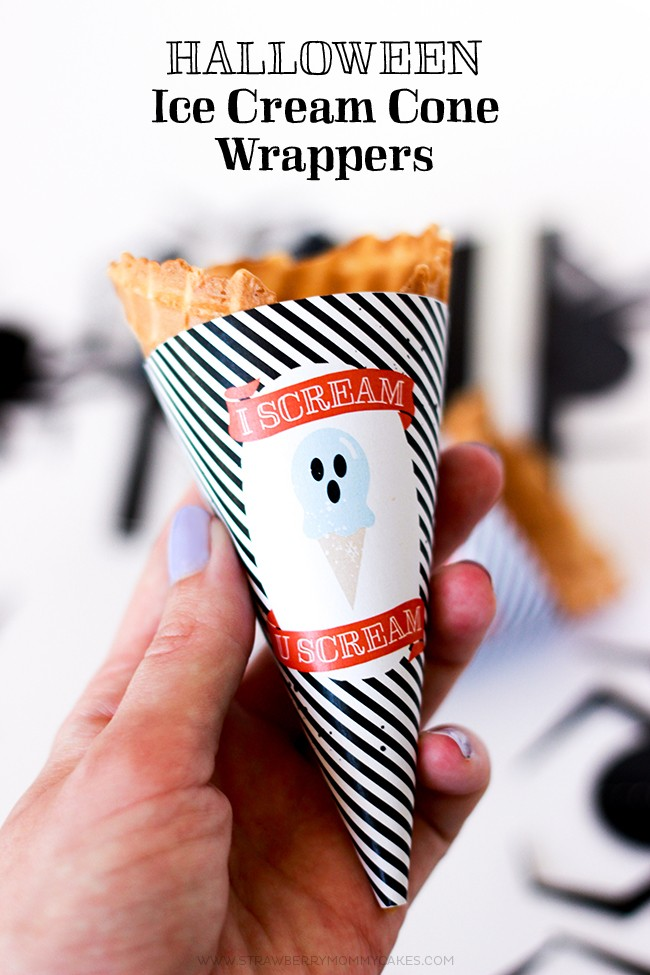 """Download these cute """"I Scream"""" Halloween Ice Cream Cone Wrappers for a fun treat!"""