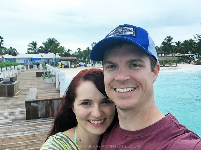 Me and my husband standing on the pier in Turks and Caicos