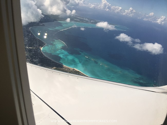 Turks and Caicos seen from the window of an airplane