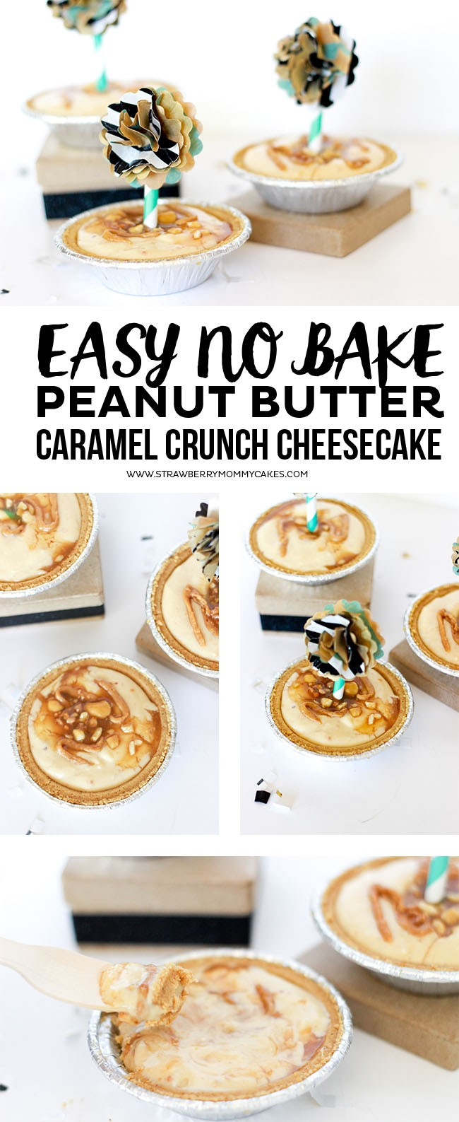 This Easy No Bake Peanut Butter Caramel Crunch Cheesecake recipe is the perfect Fall treat!