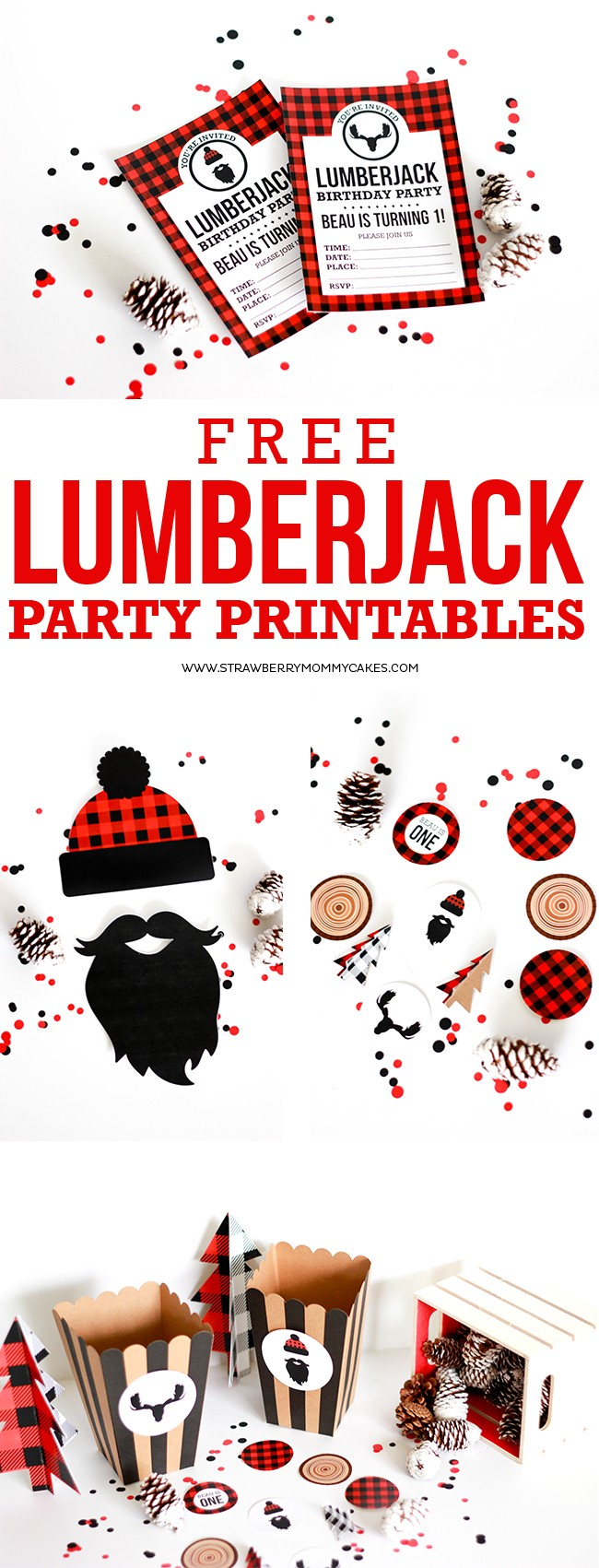 Long collage of free printable birthday invitations and other lumberjack party printables