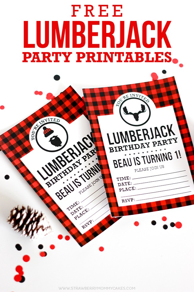 2 Lumberjack free printable birthday invitations on white table with red and black confetti