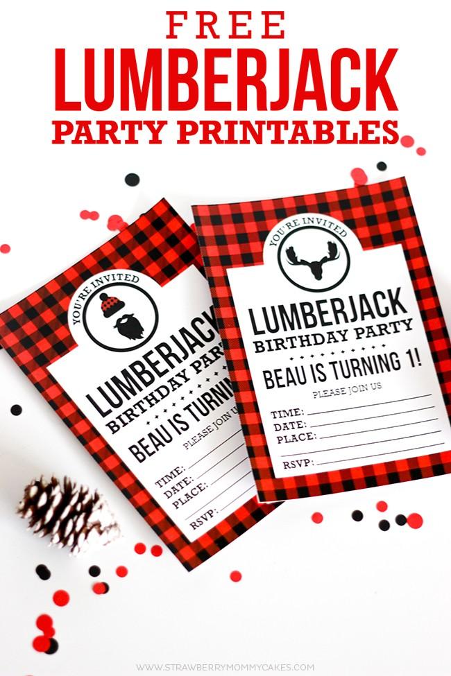 Free Printable Birthday Invitations Plus Lumberjack Party Printables