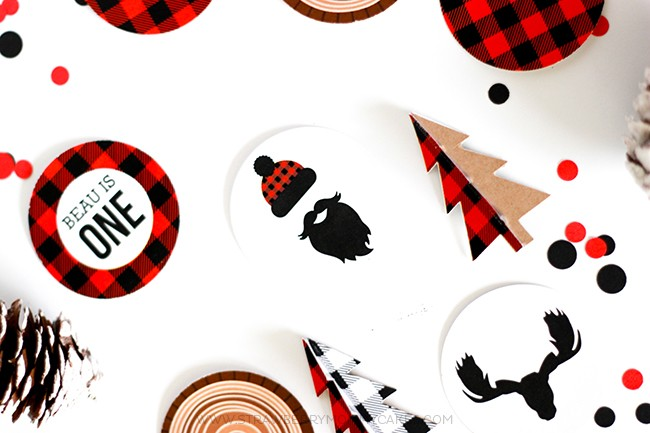 Round Lumberjack Party Cupcake Toppers
