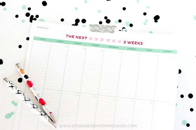 Horizontal pic of blank printable weekly calendar