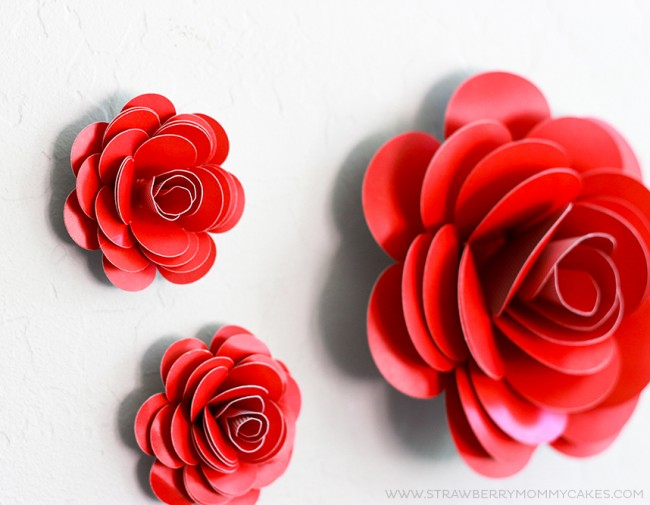How to make a paper rose easy to follow video tutorial small and 1 large red paper rose on white wall mightylinksfo