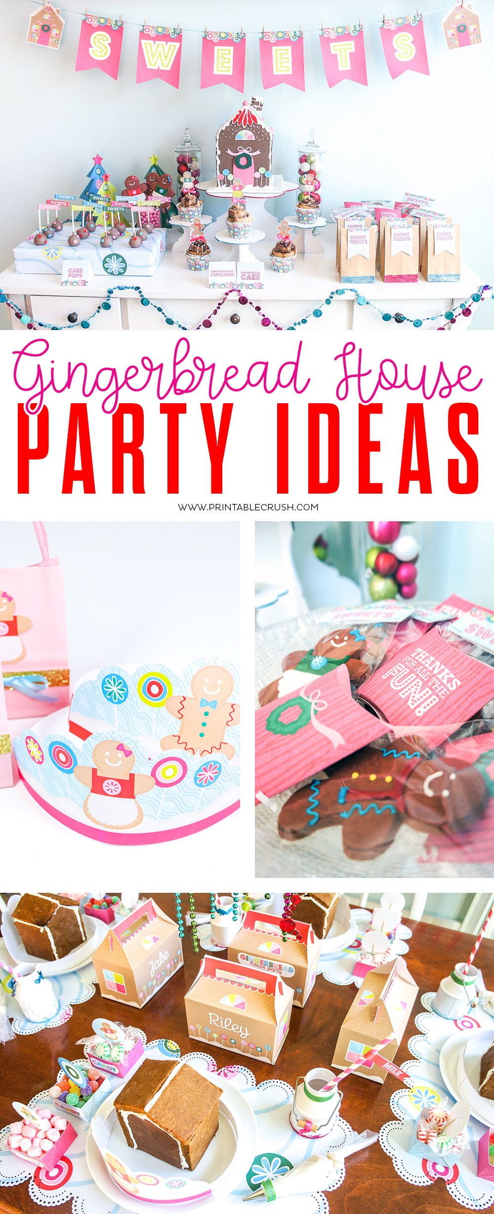 Your kids will love these Gingerbread House Party Ideas - such a fun holiday party! #gingerbreadhouse #gingerbreadhouseparty #christmasparty #holidayparty #gingerbreadprintables