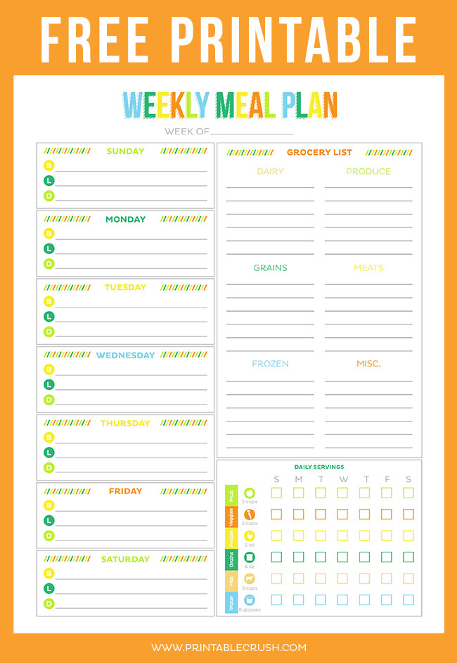 meal planning template with grocery list - free printable weekly meal planner printable crush