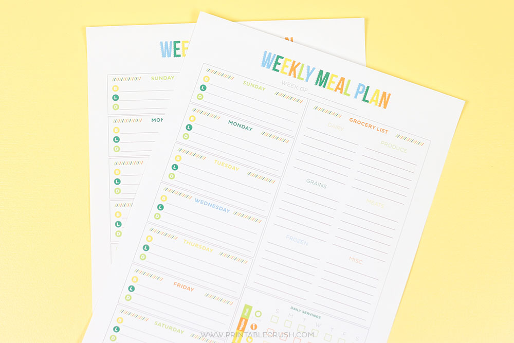horizontal pic of meal planner on yellow background