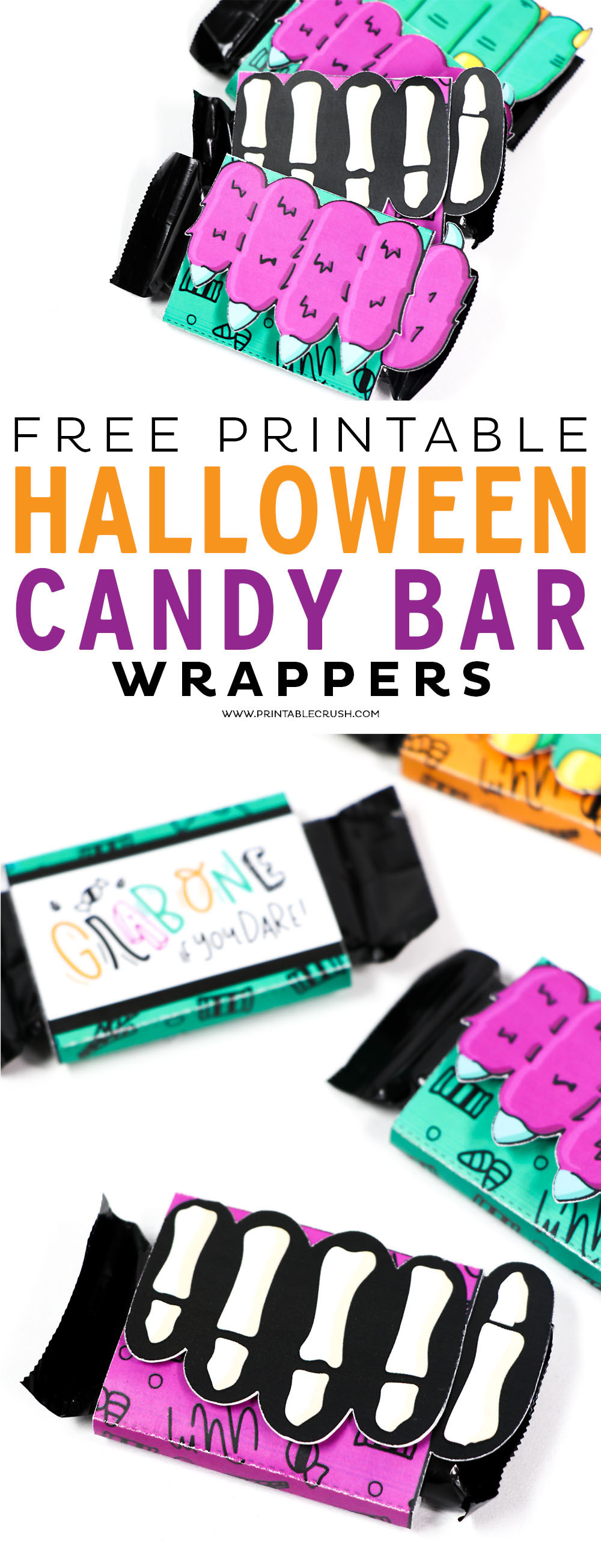 These Free Printable Halloween Candy Bar Wrappers are adorable and perfect for trick or treaters or Halloween party favors!