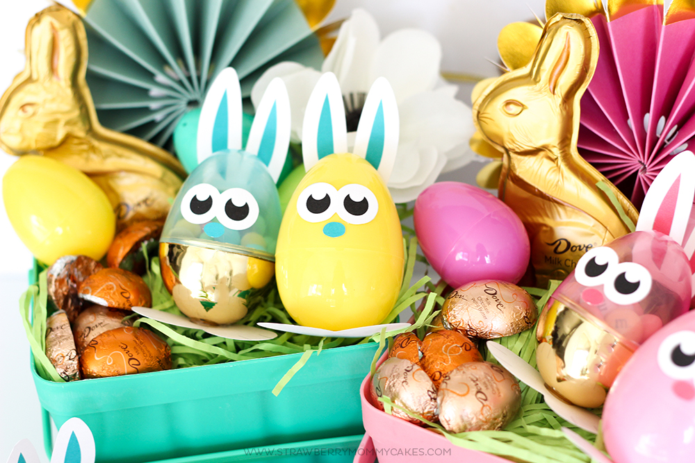 Plastic Easter eggs with printable bunny ears in Easter basket