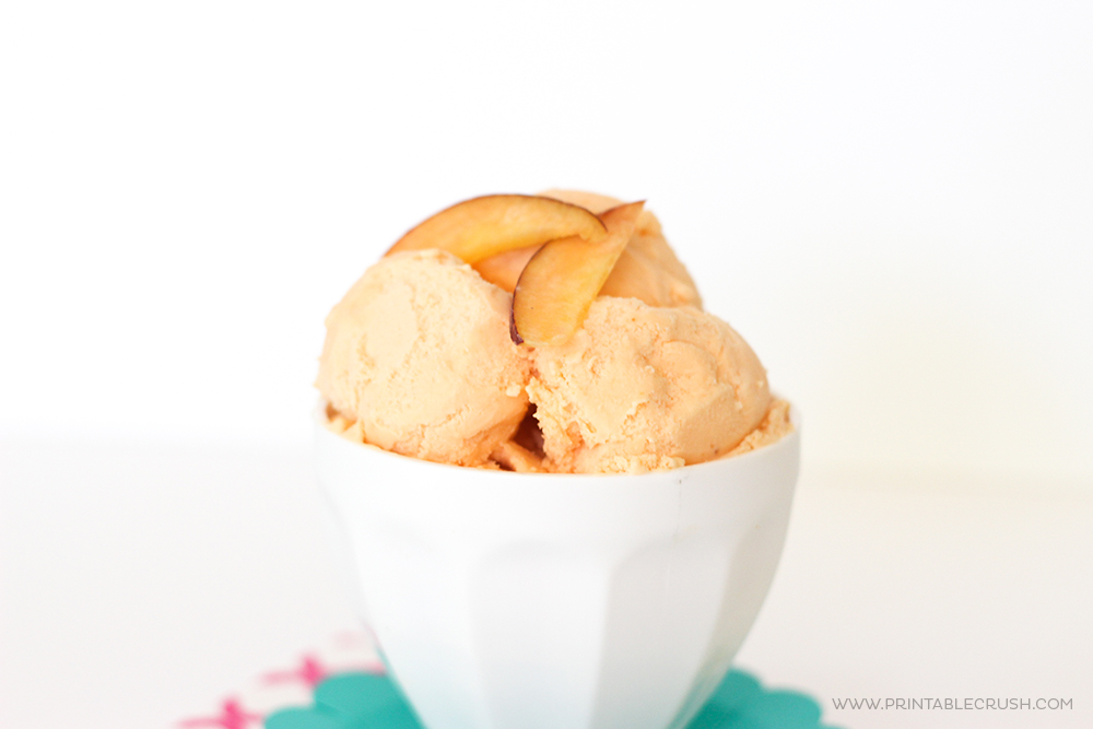 This Homemade Peach Ice Cream is so easy to make and it's seriously amazing! It has a nice, fresh, peach flavor and it's so creamy!