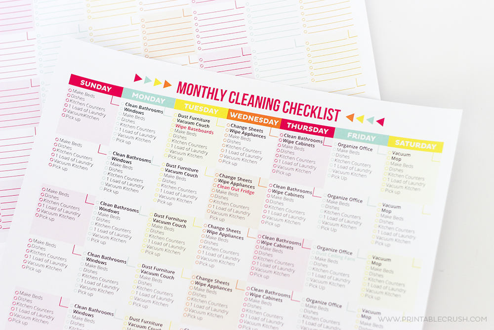 Monthly cleaning checklist up close
