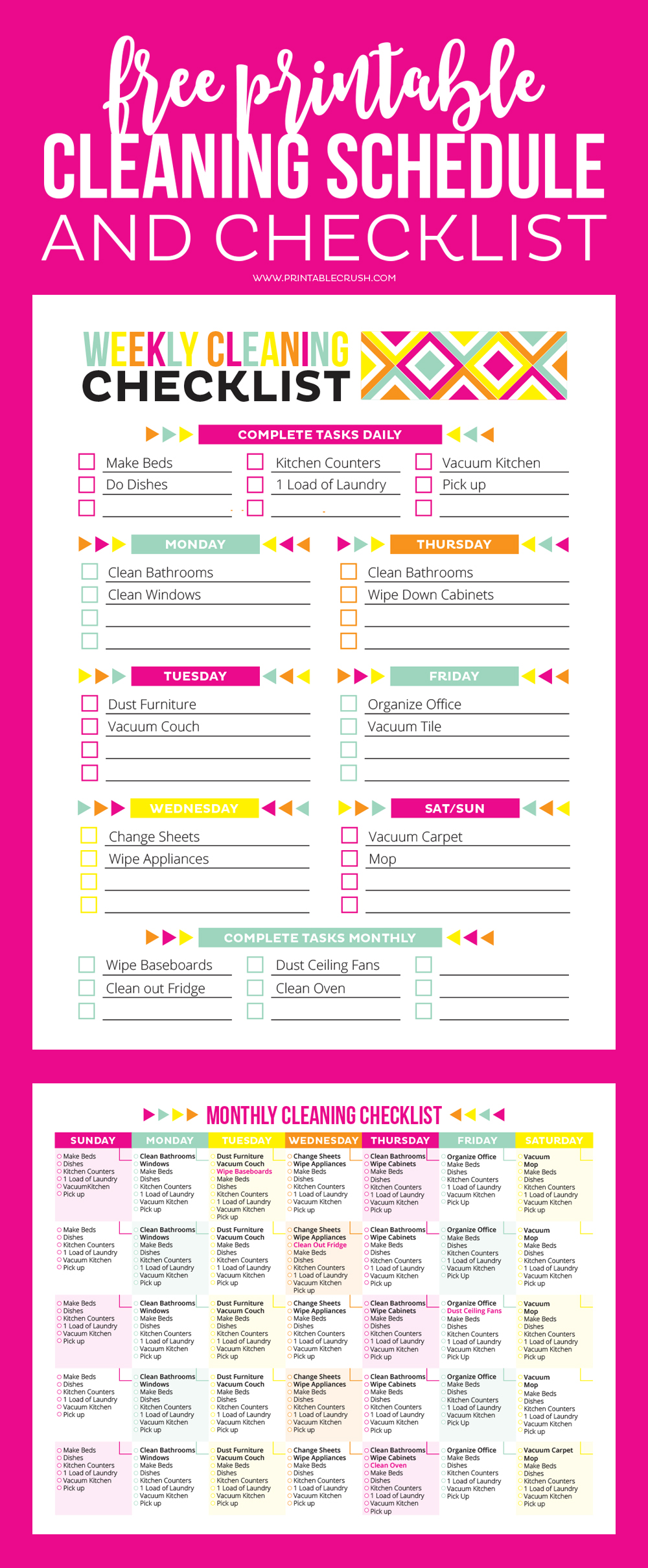 Zany image pertaining to cleaning schedule printable