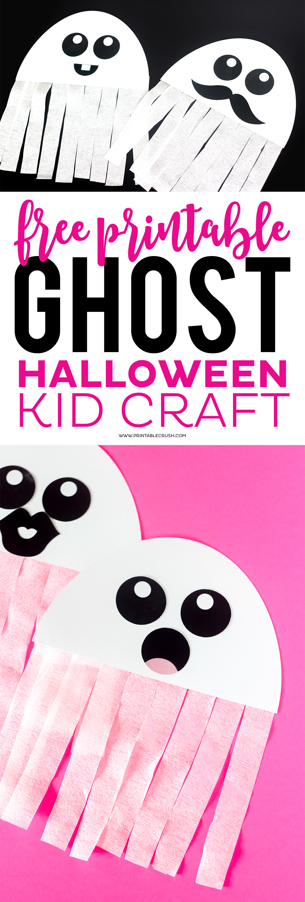 image relating to Printable Halloween Craft identified as Absolutely free Printable Ghost Halloween Craft - Printable Crush