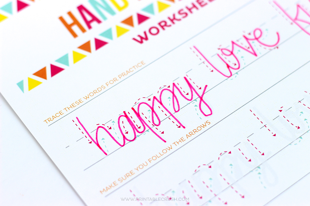 Teach Kids Hand Lettering with these FREE Hand lettering Worksheets for kids! This is great for teaching your kids how to write in cursive, too!