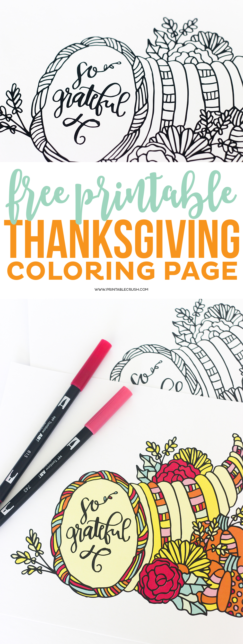 Thanksgiving Coloring Pages long pin collage