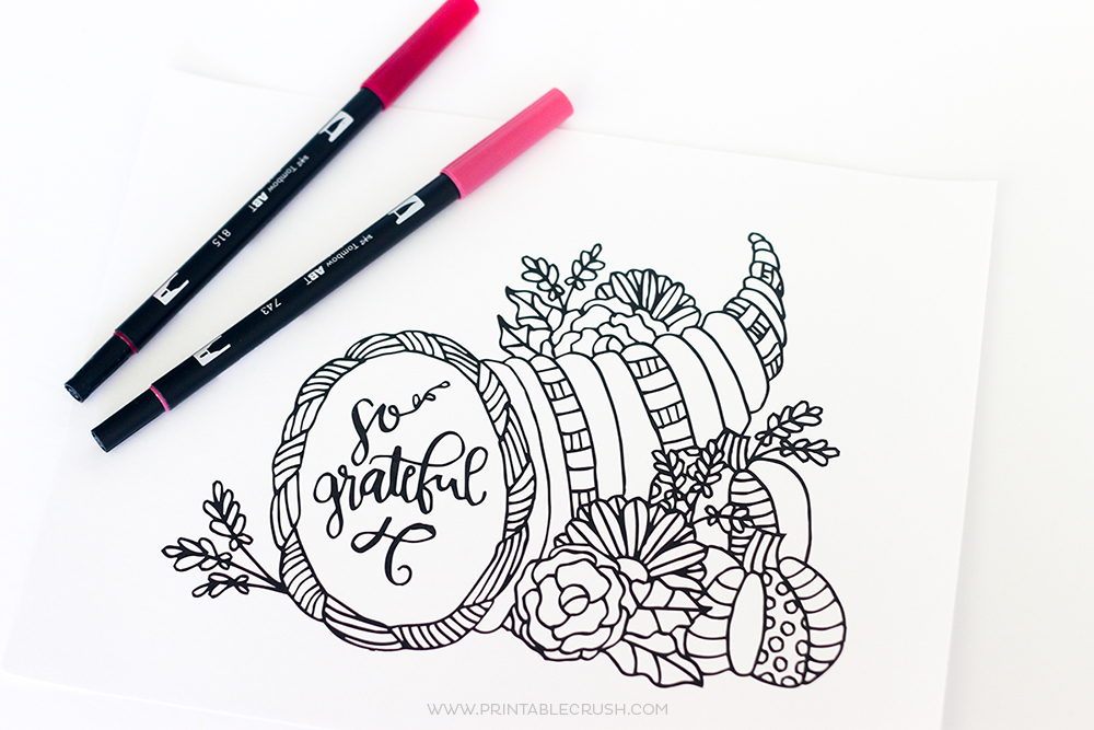 Download this pretty Thanksgiving Coloring Page for your dinner guests.