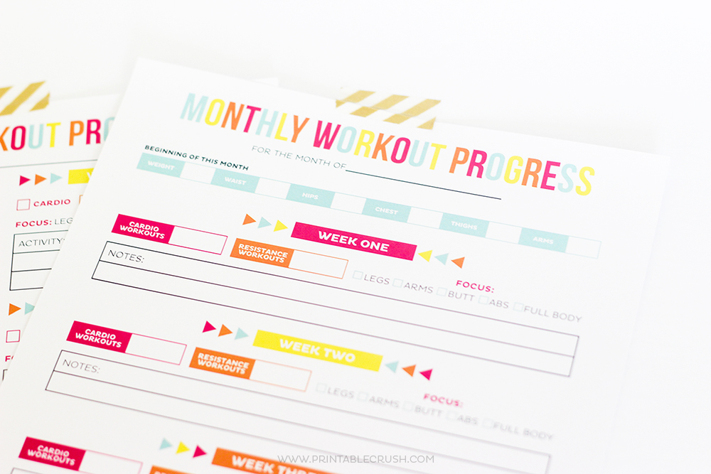 Printable Workout calendar closeup