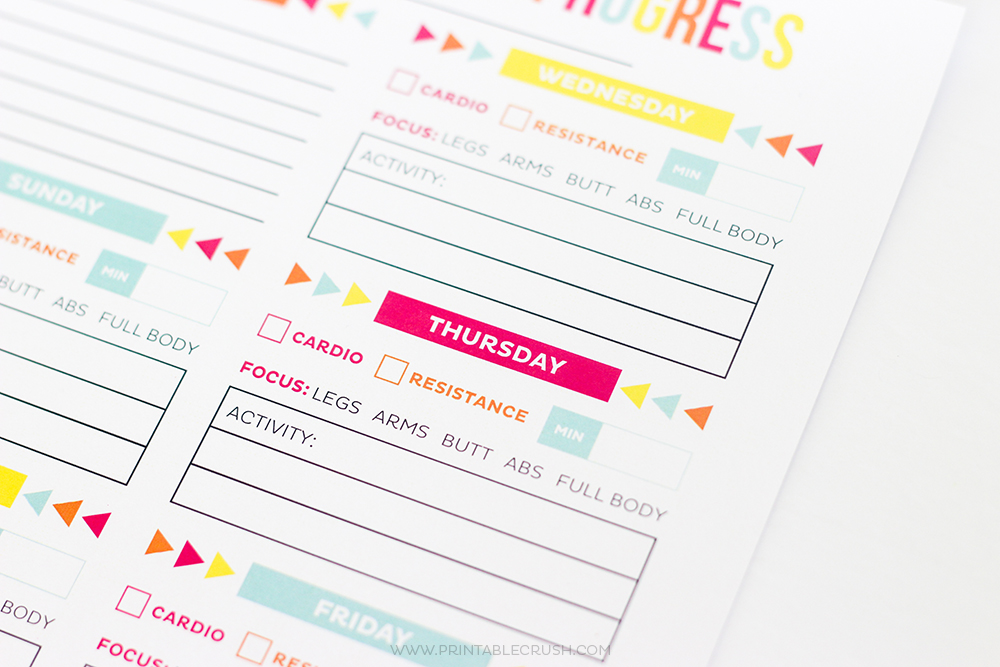 FREE Printable Workout calendar up close