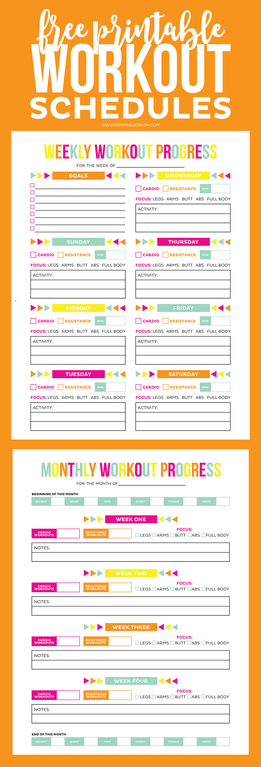 Workout calendar long pin collage