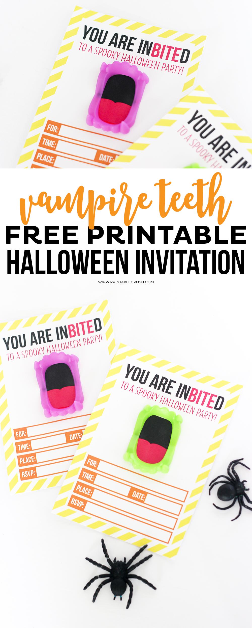 photograph regarding Halloween Invitations Printable titled Cost-free Printable Vampire Halloween Invitation - Printable Crush