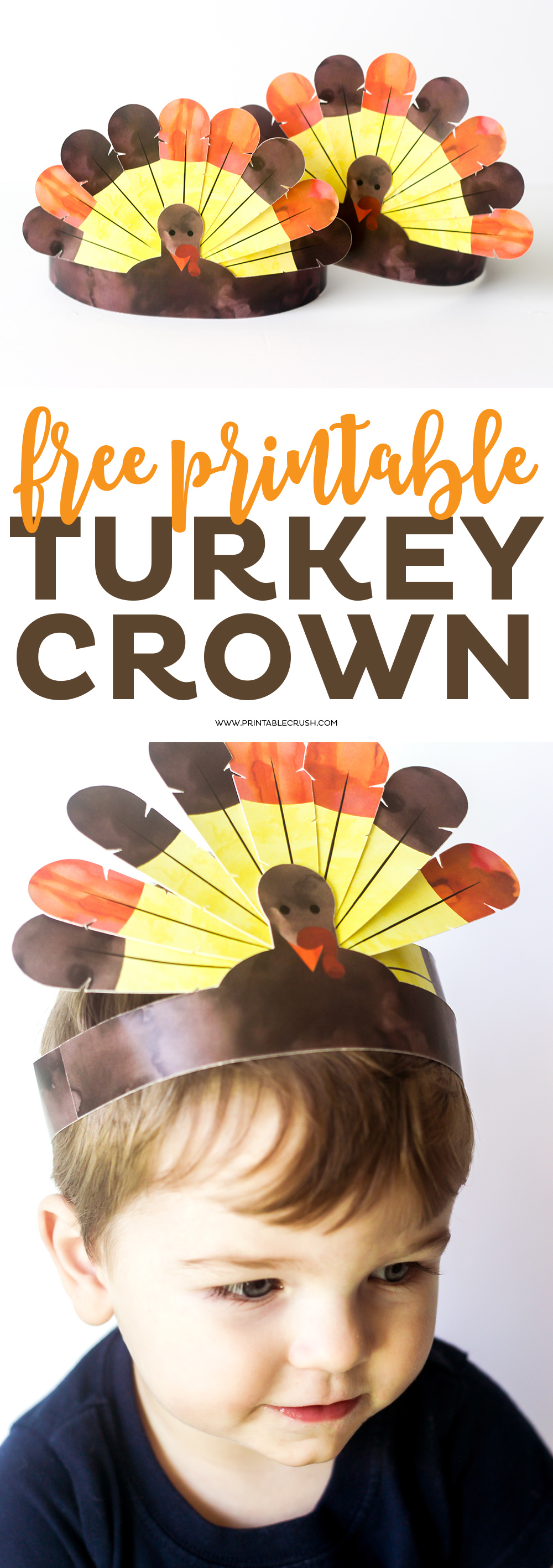 Download these FREE Printable Thanksgiving Turkey Crowns for the kids to enjoy! The kids will love wearing them for Thanksgiving Dinner. via @printablecrush